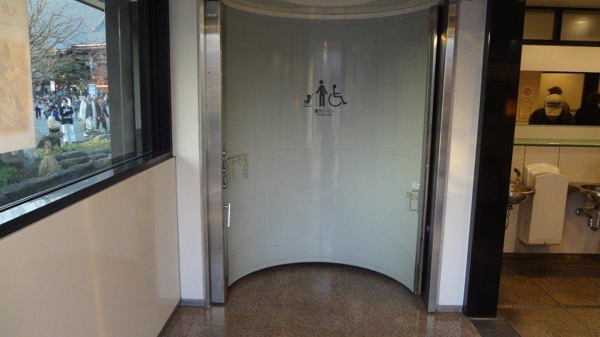 Sensoji toilet with rotating door