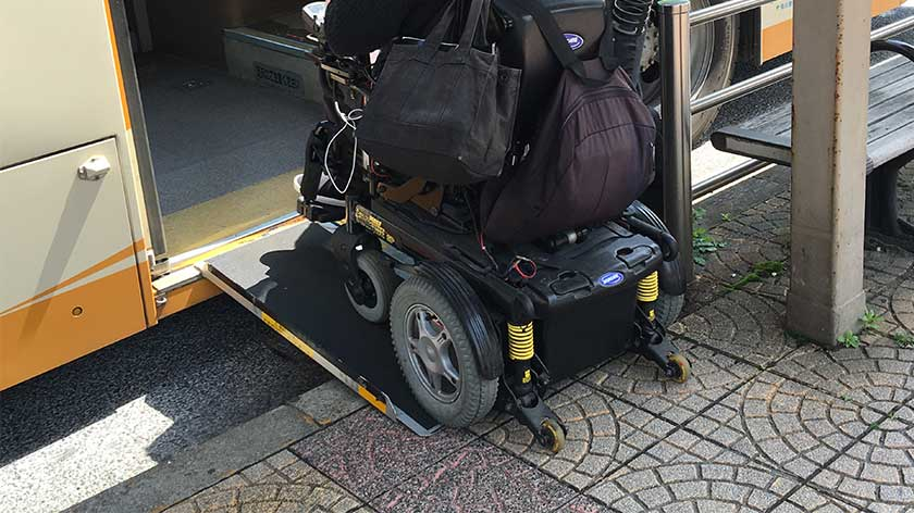 Slope to wheelchair accessible bus in Japan