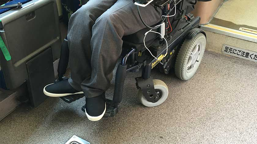 Wheelchair space on accessible bus in Japan