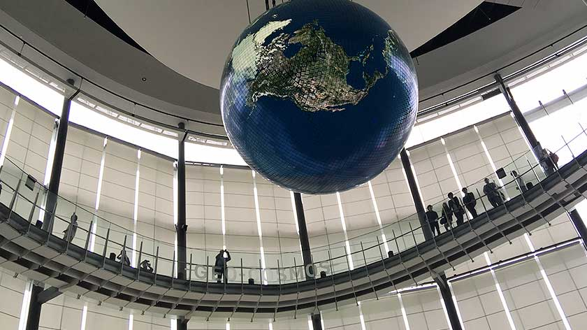 Animated globe at the Emerging Science Museum