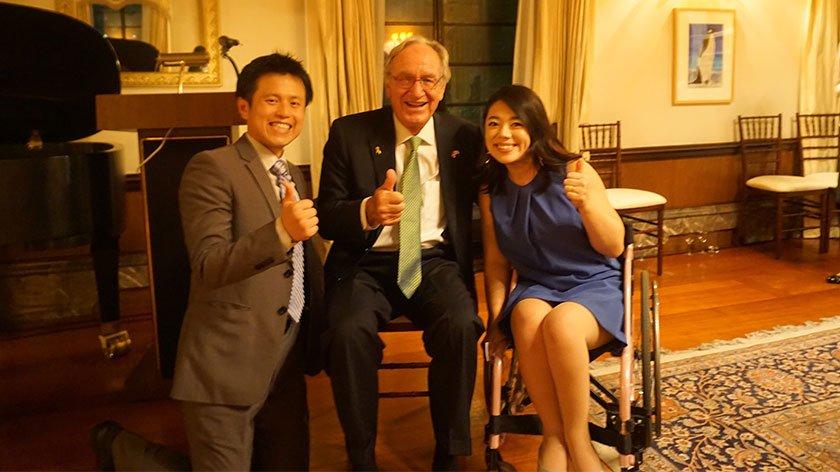 Jeff Hsu, Senator Tomas Harkin, and Mizuki Hsu