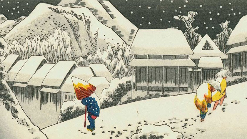 Japanese Woodblock Print of a Man in the Snow with a Cane and Umbrella