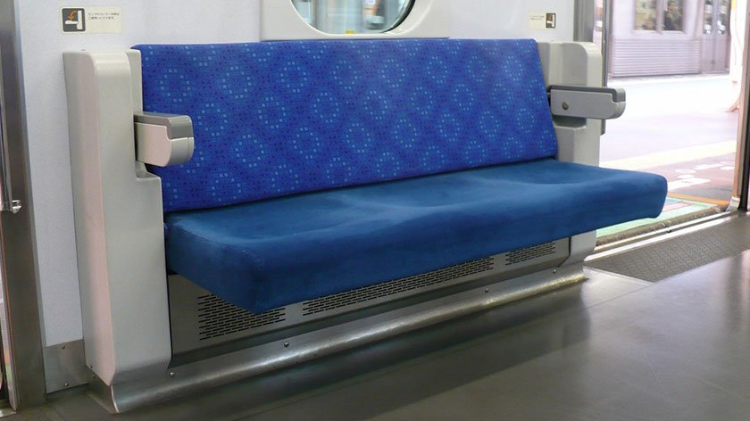 Folding priority seat on a Japanese train