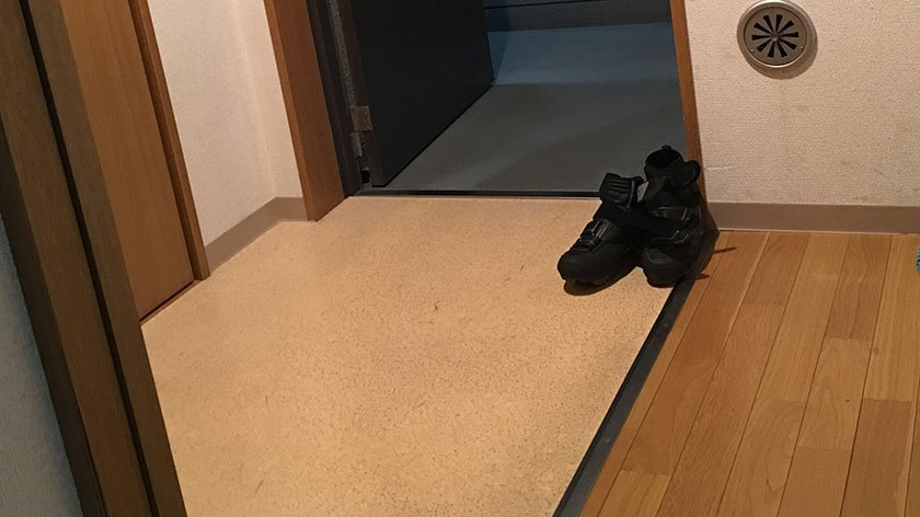 Genkan of an accessible apartment in Japan