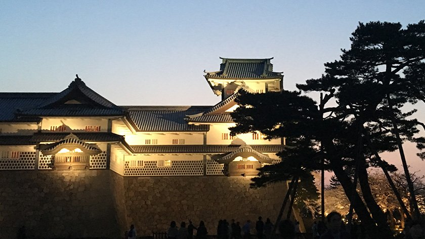 Kanazawa Castle at Night