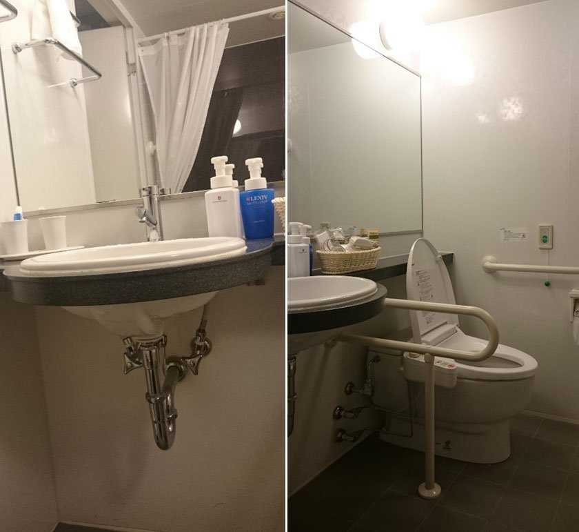 Accessible bathroom sink and toilet