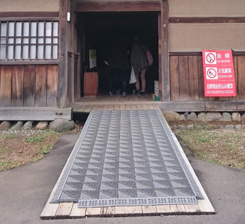 Ramp up to a recreated historical barn in Hirosaki Apple Park