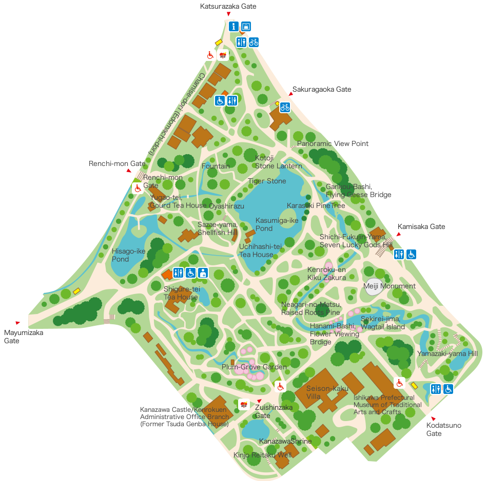 Kenrokuen Facilities Map