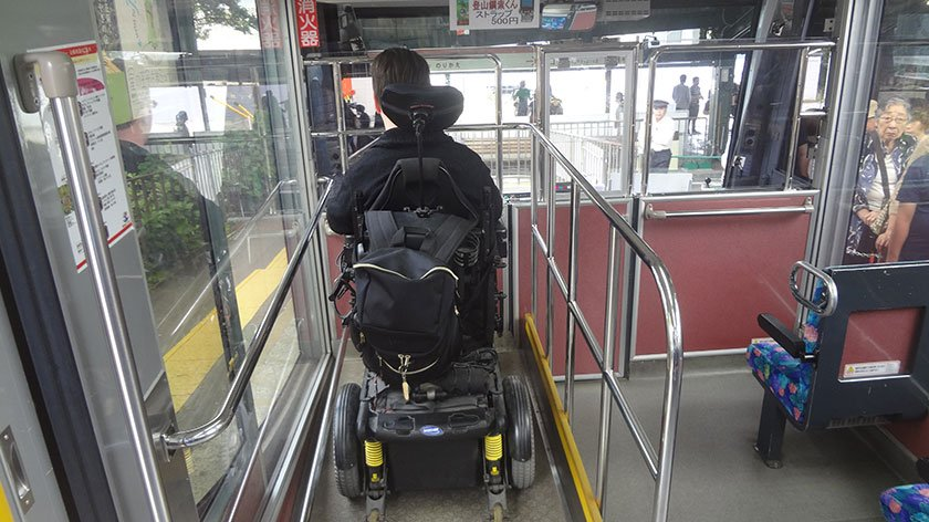 Wheelchair space on the Hakone Cablecar