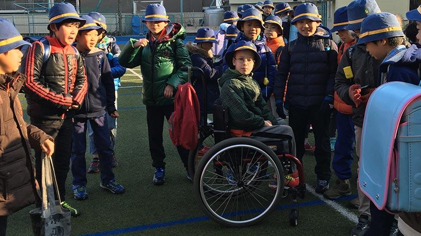 Xander with school friends