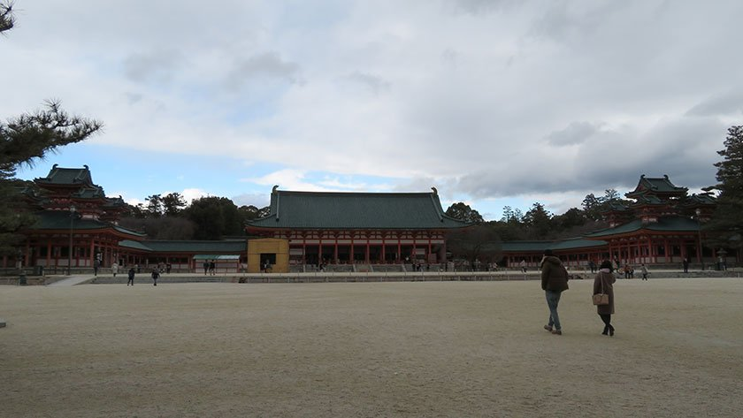 Large gravel courtyard of Heian Shrine