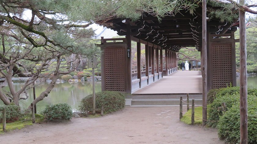 Inside Heian Shrine garden on path