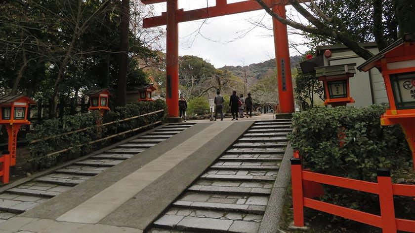 Steps and ramp at rear entrance of Yasaka Shrine
