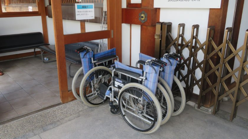 Wheelchairs available to borrow at Sanjusangendo