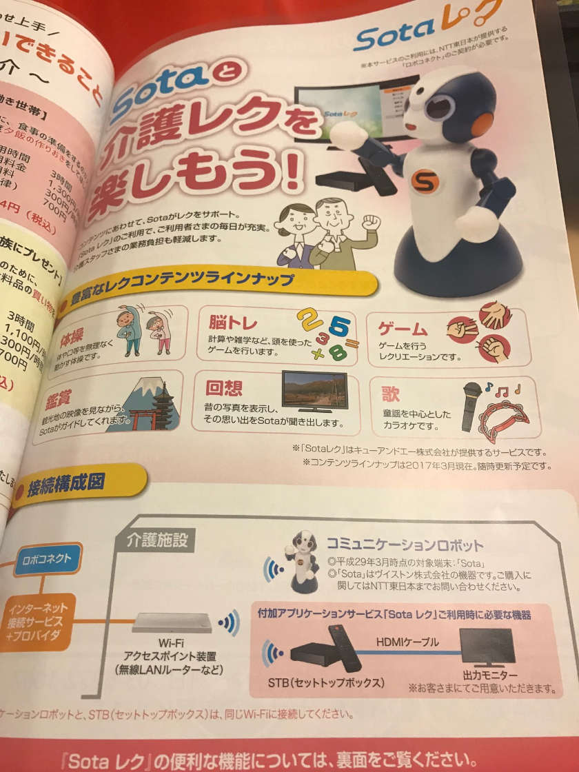 Pamphlet on Sota robot from NTT