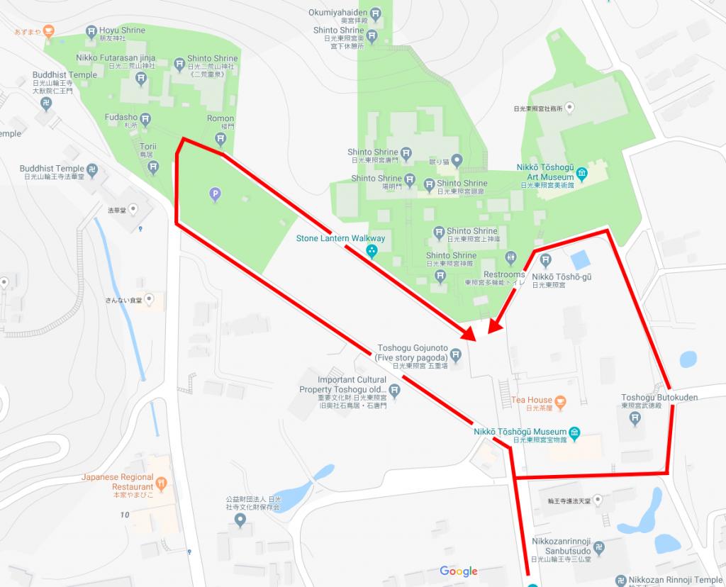 Map to get past steps at Nikko Toshogu Shrine