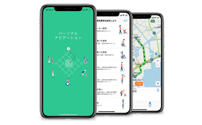 Personal Navigation app on phone screens
