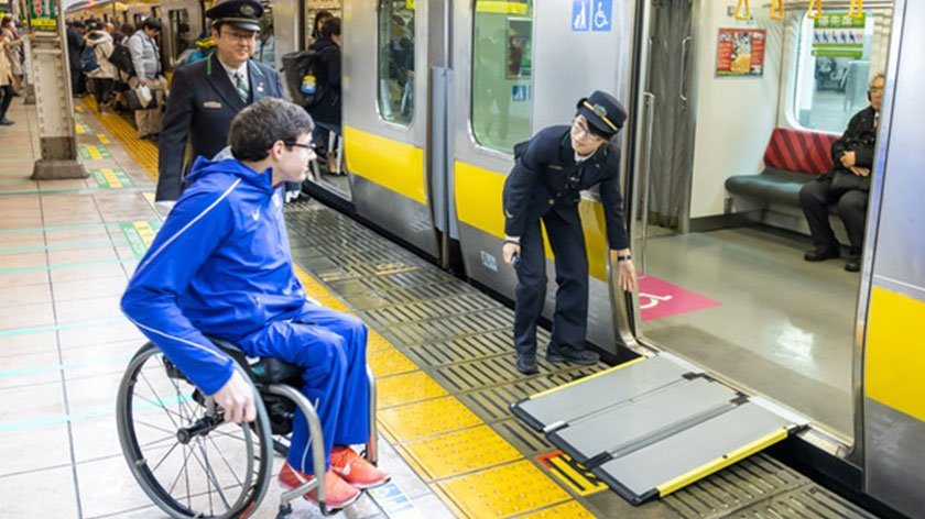 Daniel Romanchuk riding train in Tokyo