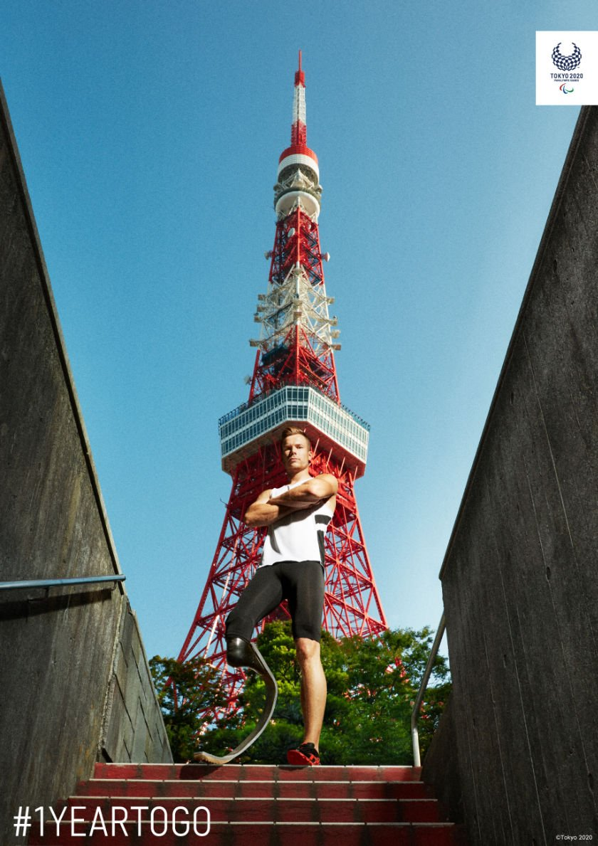Markus Rehm in front of Tokyo Tower