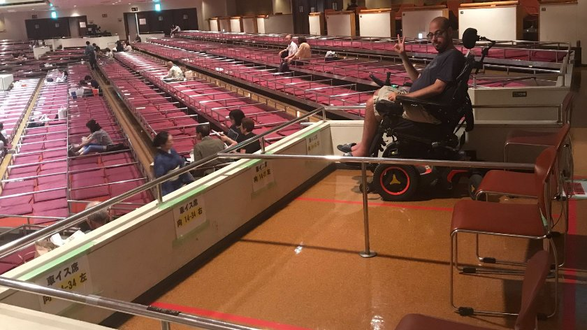Accessible seating at sumo wrestling tournament