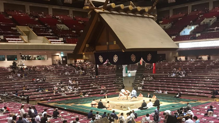 Sumo wrestling at Kokugikan