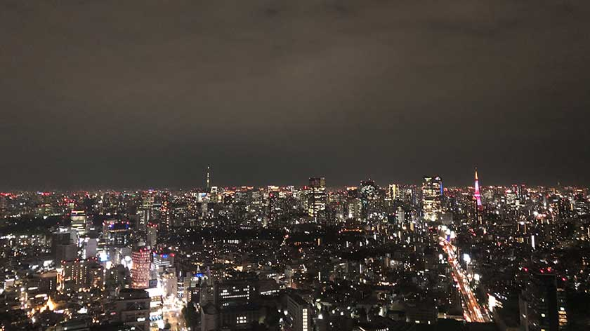 Night view of Tokyo Tower and Tokyo Skytree from Shibuya Sky