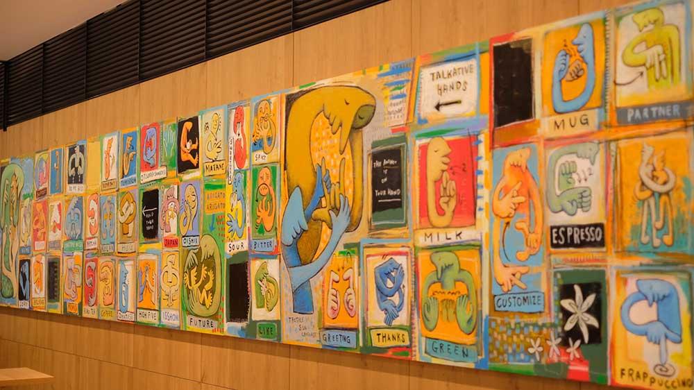 Art at sign language Starbucks in Japan