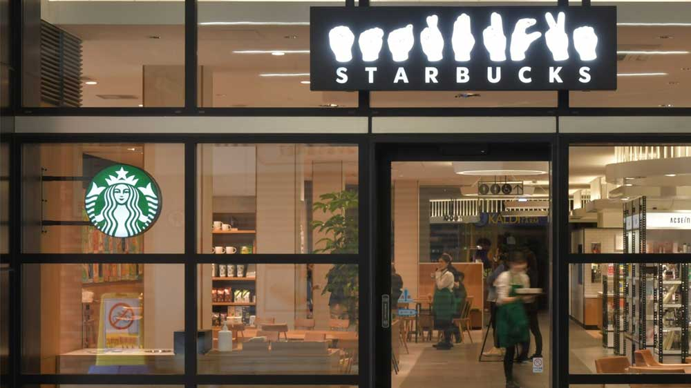 Entrance of Starbucks in sign language